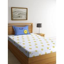 Smiley 150 cm x 225 cm Single Bedsheet, White