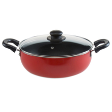 22 cm Classic Induction With Lid Kadai - @home By Nilkamal, Red