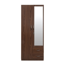 Adora 2 Door Wardrobe with Mirror Texture, Brown