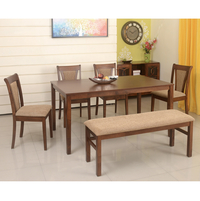 Jewel 1+ 4+ Bench Dining Set, Walnut