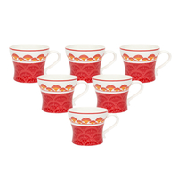 Bohemian Ginger 200 ml Tea Cup Set of 6 - @home by Nilkamal, Red