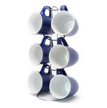 Elite Stone Coffee Mug Set of 6 with Stand - @home by Nilkamal, Indigo