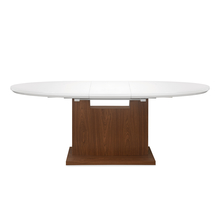 Walt 6 Seater Extendable Dining Table - @home by Nilkamal, White with Walnut