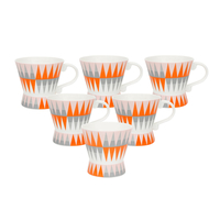 Geometric Moon 180 ml Tea Cup Set of 6 - @home by Nilkamal, Orange