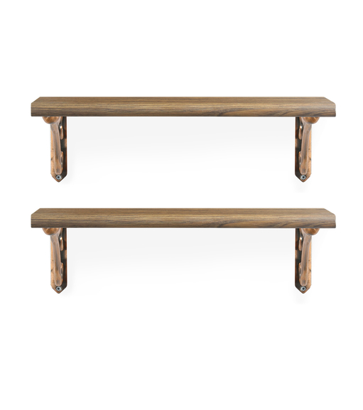 Romantic & Juan Small Wall Shelf Set of 2 - @home by Nilkamal, Walnut