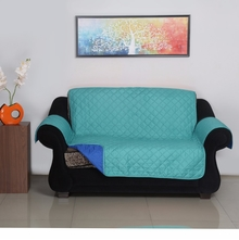2 Seater Reversible Sofa Cover 179 cm x 223 cm - @home by Nilkamal, Indigo & Sea Green