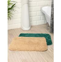 Microfiber 40 cm x 60 cm Set of 2 Bathmat, Emerald & Cream