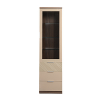 Maestro Curio Cabinet - @home by Nilkamal, Walnut with Sand Beige