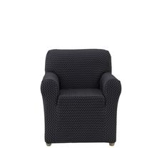 Jacquard Chevron Knit 1 Seater Sofa Cover, Black