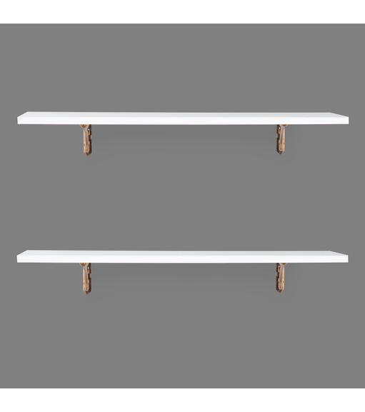 Romantic & Janus Big Wall Shelf Set of 2 - @home by Nilkamal, White