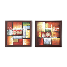 Abstract Painting Set of 2 - @home by Nilkamal, Yellow