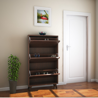 Martin 3 Tier Shoe Cabinet - @home by Nilkamal, Walnut