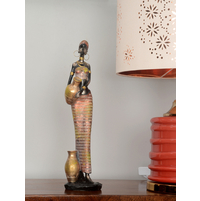 African Lady with Pot 12X42CM ShowPiece, Red