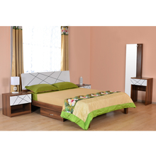 Tiffany Queen Bedroom Set - @home By Nilkamal, Walnut & White