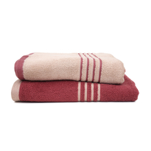 70 cm x 130 cm Bath Towel Set of 2- @home by Nilkamal, Maroon & Beige