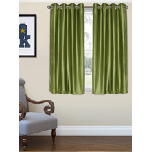 Embellished Square 115 cm x 152 cm Window Curtain - @home by Nilkamal, Green