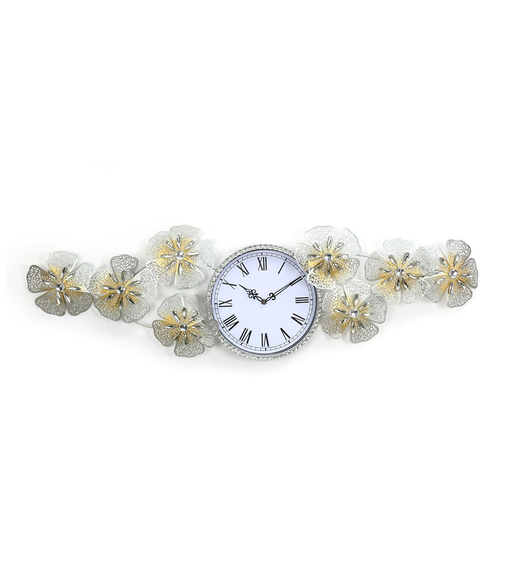 Bloom Crystal Wall Clock - @home by Nilkamal, Gold