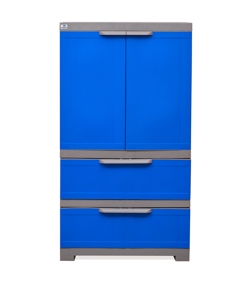 Nilkamal Freedom Cabinet with 2 Drawer Below - Deep Blue & Grey
