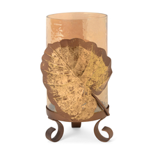 Hurricane Trop Leaf Candle Holder, Gold
