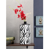 Noir Blanc Geometric Vase, Brown