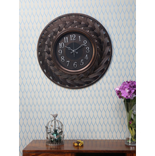 Rattan Border Wall Clock, Brown