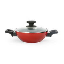 Bergner Scarlet Diecast 20 cm Kadai with Lid, Red