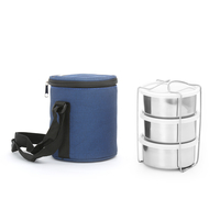 Super Stainless Steel Lunch Box Set of 3 with Lid - @home by Nilkamal, Blue