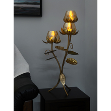 3 Lotus 34X34X79CM Candle Floor Stand, Gold