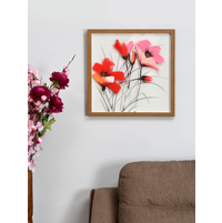 Bloom Flower 55X55 CM Glass Painting, Red
