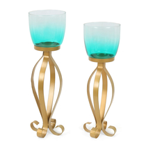 Bella Candle Stand Set of 2 -@home by Nilkamal, Seagreen