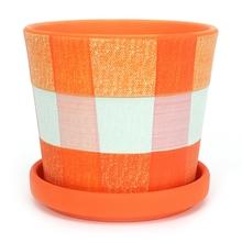 Checks Planter - @home by Nilkamal, Orange