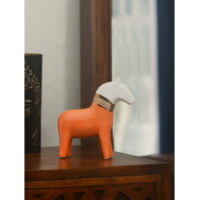 Small Horse 20.7 cm x 6.3 cm x 23.8 cm Showpiece - @home by Nilkamal, Orange