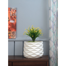 Deboss Cylindrical Planter, White