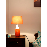 Engrave Geometric Medium Table Lamp, Orange