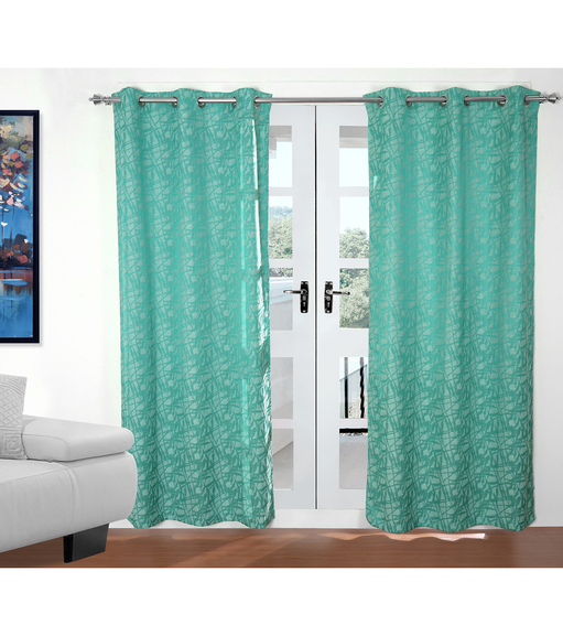 Abstract 112 cm x 213 cm Door Curtain Set of 2 - @home by Nilkamal, Sea Green