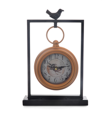 Metal Bird Table Clock - @home By Nilkamal, Black & Gold