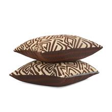 Geometric 40 x 40 cm Cushion Cover Set of 2 - @home by Nilkamal, Brown