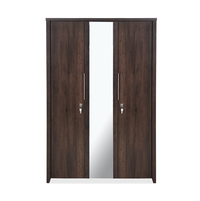 Zerlin 3 Door Wardrobe with Mirror - @home by Nilkamal, Dark Walnut