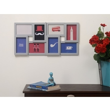 8 Cluster Collage Photo Frame - @home by Nilkamal, Grey