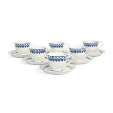 Georgian Cup & Saucer Set of 6 -@home by Nilkamal, Indigo