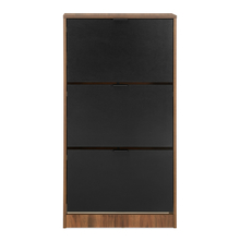 Florine 3 Tier Shoe Cabinet, Walnut