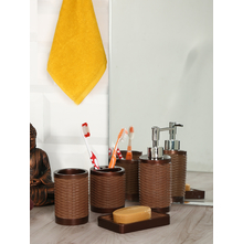 Cane Finish 4 Pieces Bath Set, Brown