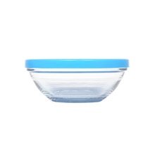 Duralex Round Glass 295 ml Container with Blue Lid, Clear