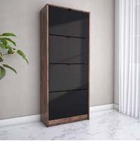 Florine 4 Tier Shoe Cabinet, Walnut