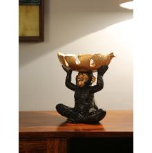 Monkey with Leaf Bowl Showpiece, Gold