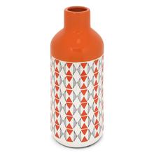 Geo Print Bottle 14 cm x 32 cm Vase - @home by Nilkamal, Orange & Grey