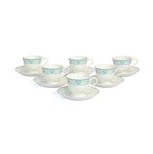 Georgian Cup & Saucer Set of 6 -@home by Nilkamal, Seagreen Grey
