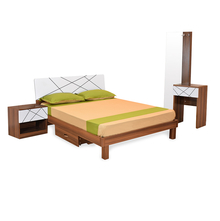 Tiffany Queen Bedroom Set with Mattress - @home by Nilkamal, Walnut