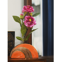 25.2 cm x 7.3 cm x 13 cm Semi Circle Vase - @home by Nilkamal, Orange