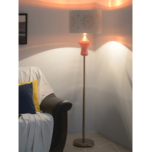 Flora Ceramic Floor Lamp, Orange